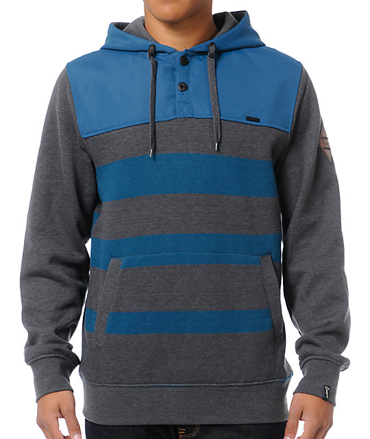Empyre Mens Double Dutch Charcoal & Blue Striped Pullover Hoodie
