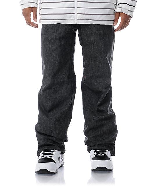 Empyre Mens Skeletor Black Denim 10K Mens Snowboard Pants