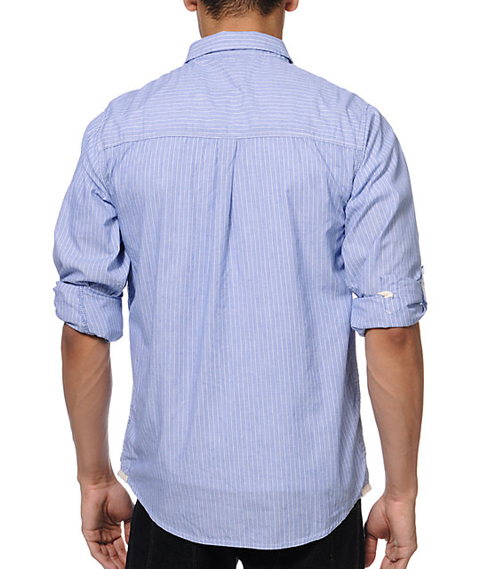 Empyre Metric Blue Pinstripe Button Up Shirt