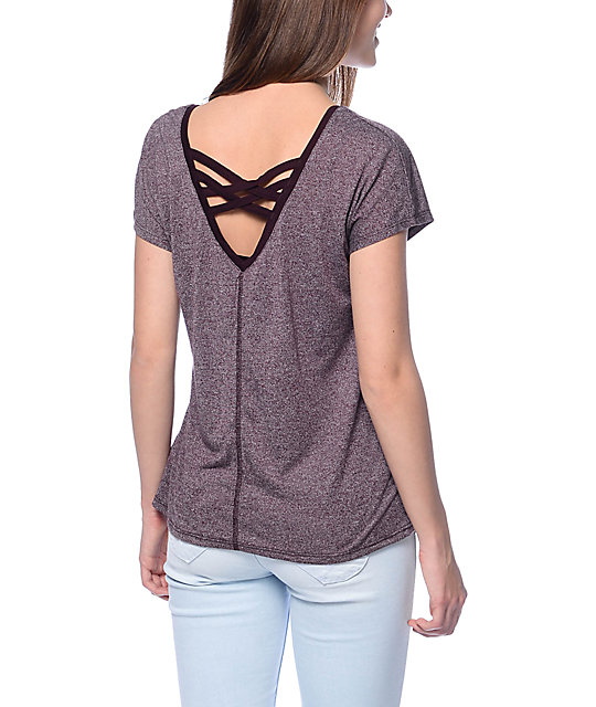 Empyre Meyer Mock Twist Grey & Blackberry Dolman Top