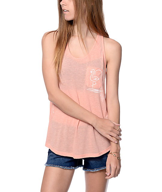 Empyre Micah Coral Flamingo Pocket Lace Back Tank Top
