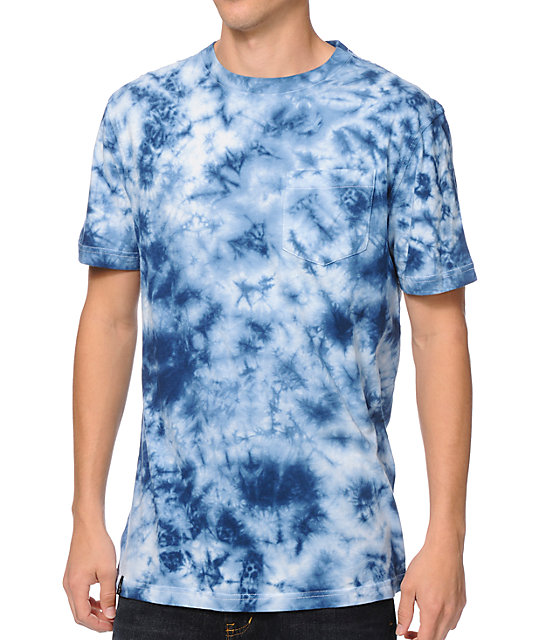 Empyre mineralz blue tie dye pocket t shirt for Black and blue tie dye t shirts