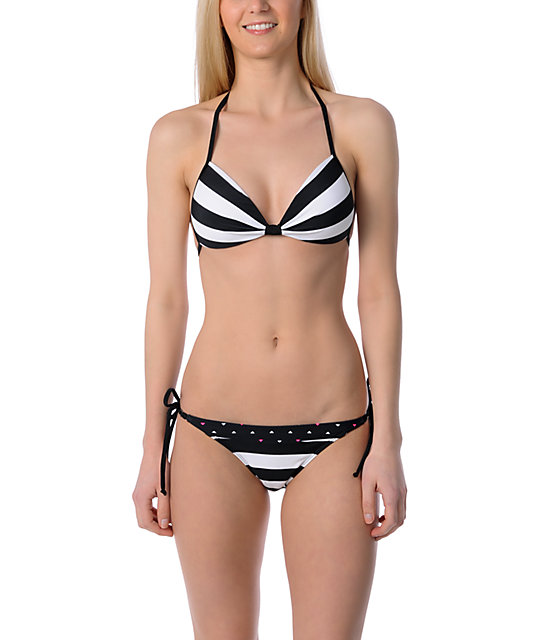 Empyre Mingle Black Stripe Side Tie Bikini Bottom