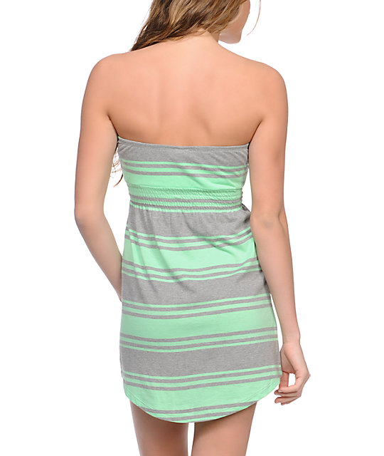 Empyre Mint & Grey Stripe Strapless Dress