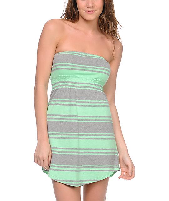 Empyre Mint & Grey Stripe Strapless Dress