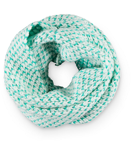 Empyre Mint & White Knit Infinity Scarf