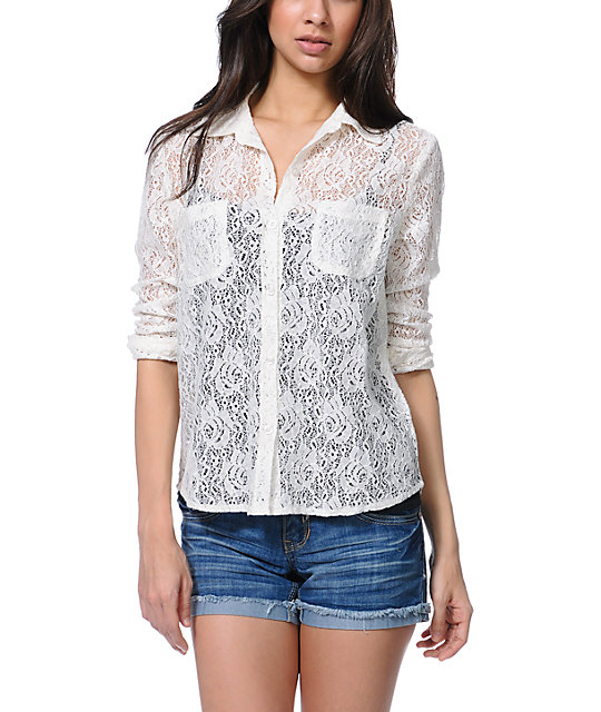 Empyre Mira Lace Natural Button Up Shirt