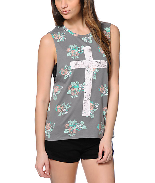Empyre Mitzi Floral Cross Grey Muscle Tank Top