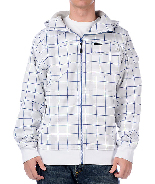 Empyre Monocle White Plaid Tech Fleece Jacket