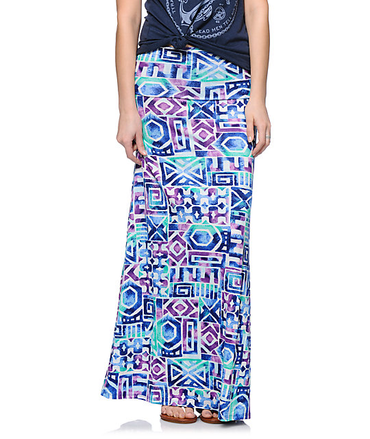 Empyre Multicolor Tribal Print Maxi Skirt