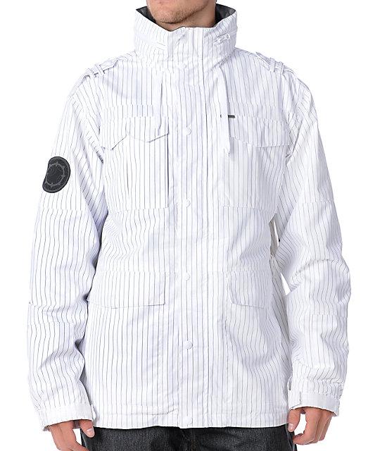 Empyre Myth White Pinstripe 10K Mens Snowboard Jacket