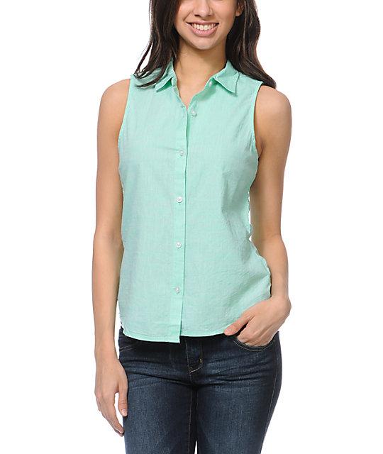 Empyre Nadia Mint Slub Sleeveless Shirt