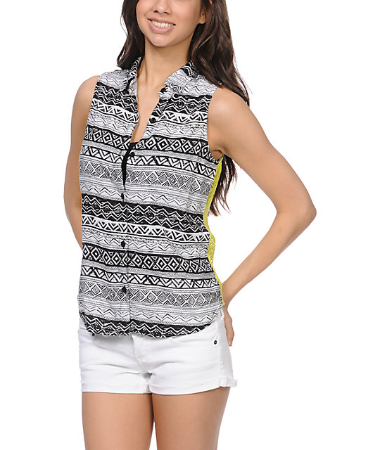 Empyre Nadia Sulphur Tribal Print Sleeveless Shirt