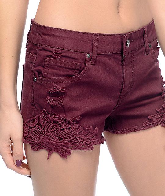 Empyre Natasha Burgundy Crochet Side Shorts