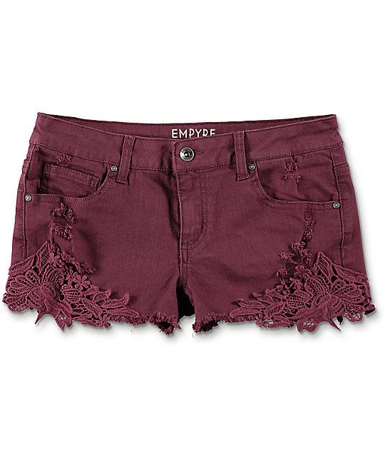 Empyre Natasha shorts lados tejidos en color borgoño