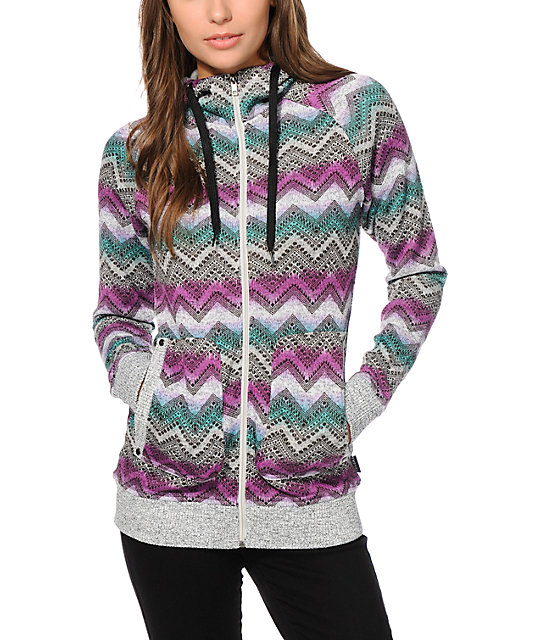 Empyre Naya Chevron Sweater Tech Fleece Jacket