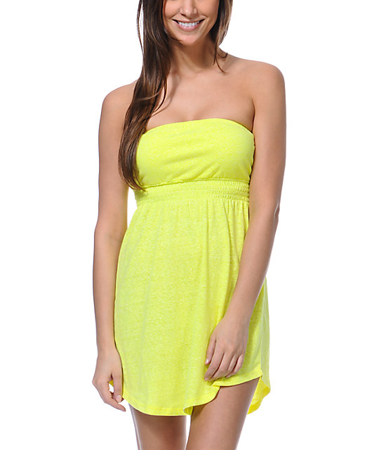 Empyre Neon Yellow Strapless Dress