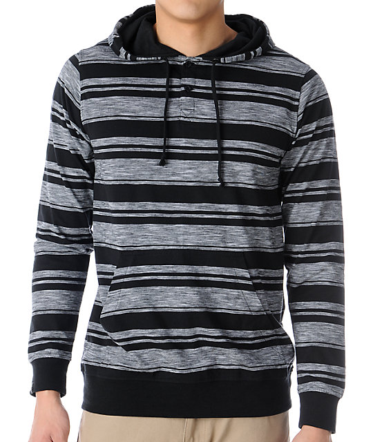 Empyre Nether Grey Stripe Knit Henley Hoodie