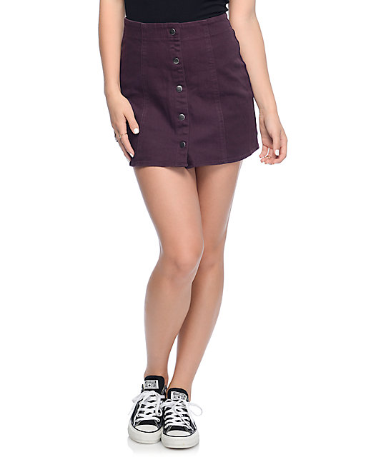 Empyre Nikola Burgundy Button Front Mini Skirt
