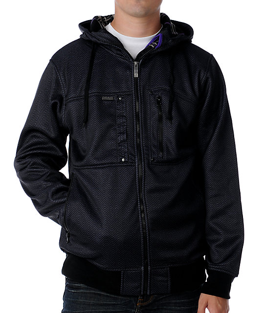 Empyre Norton Charcoal Herringbone Tech Fleece Jacket