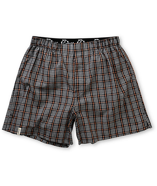 Empyre Nubs Black, White & Orange Plaid Boxers