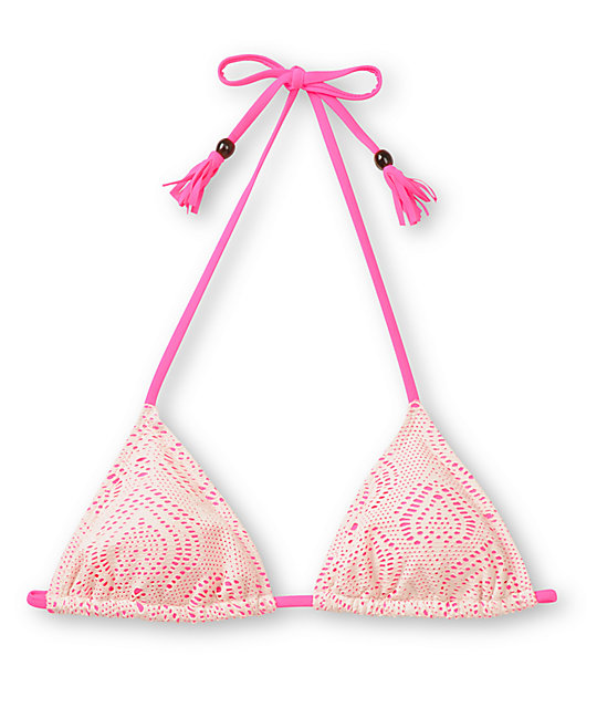 Empyre Oasis Pink & White Crochet Triangle Bikini Top