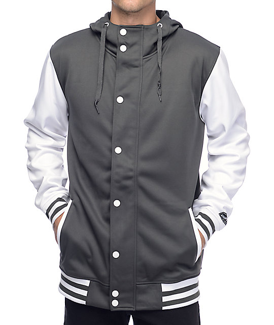 Empyre Offense Grey & White Varsity Tech Fleece Jacket | Zumiez