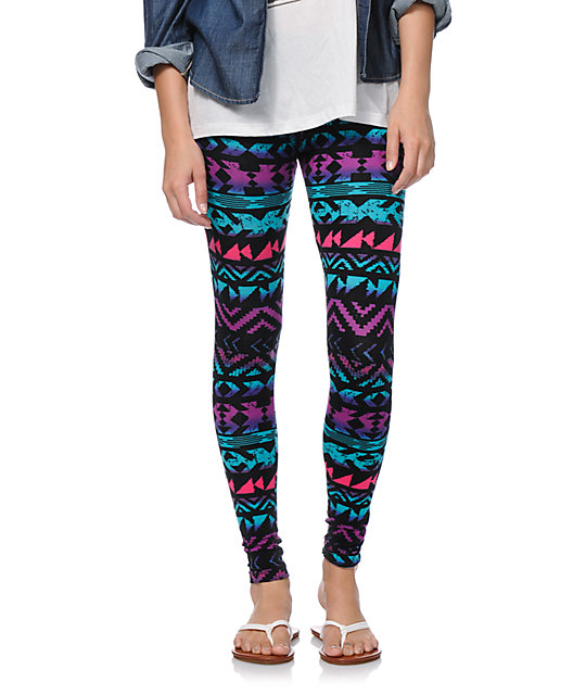 Empyre Ombre Tribal Print Black Leggings