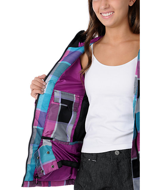 Empyre Open Air Black & Pink Plaid 10K Snowboard Jacket
