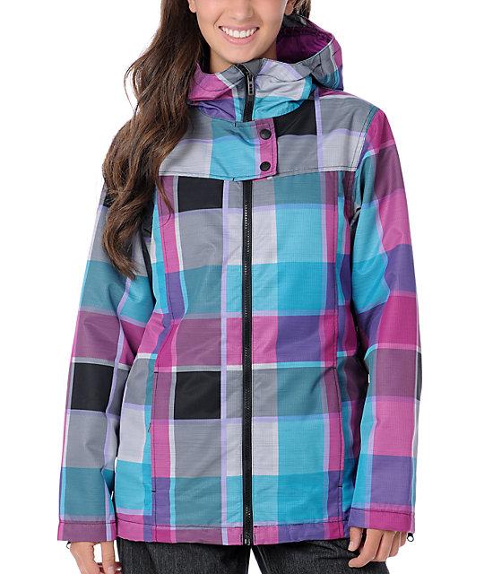 Empyre Open Air Black & Pink Plaid 10K Snowboard Jacket