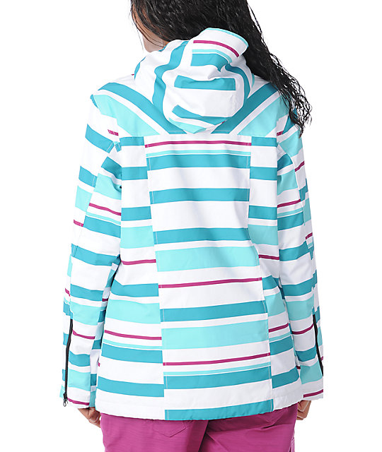 Empyre Open Air White Striped 10K Snowboard Jacket