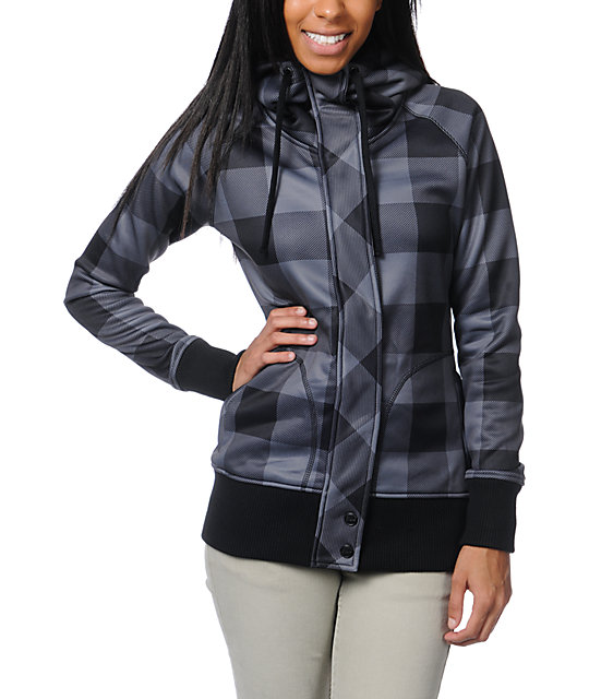 Empyre Oracle Black & Grey Buffalo Plaid Tech Fleece Jacket