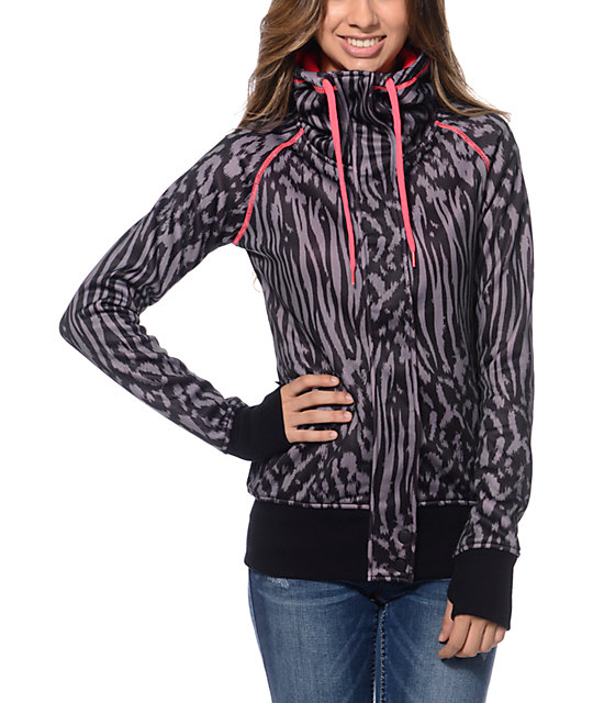 Empyre Oracle Black Animal Print Tech Fleece Jacket