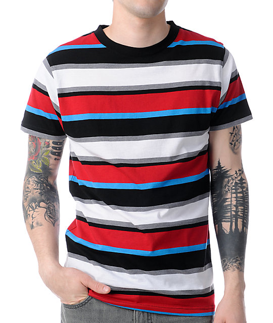 Empyre Orbit Red, Black, & Blue Striped T-Shirt