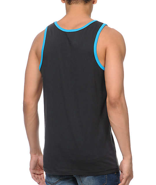 Empyre Outta Pocket Black & Teal Pocket Tank Top