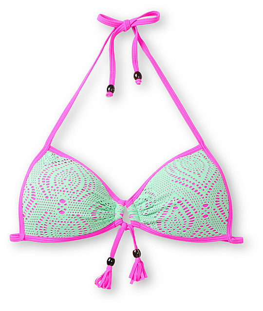 Empyre Paradise Neon Mint Crochet Molded Cup Bikini Top
