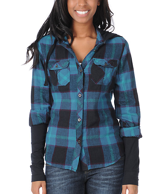 Empyre Paradox Teal Plaid Hooded Flannel Shirt