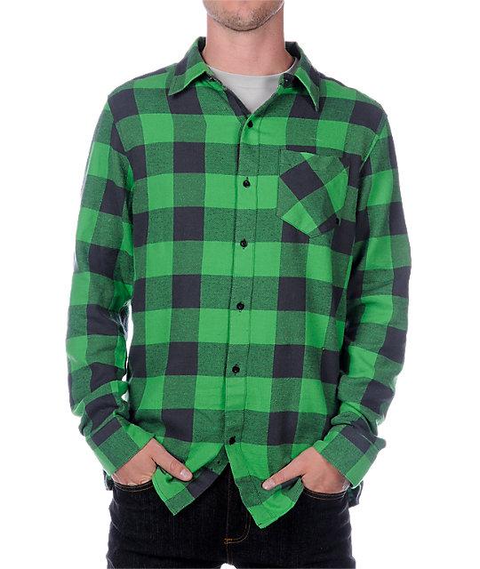Empyre Park Rat Green Long Sleeve Flannel Shirt