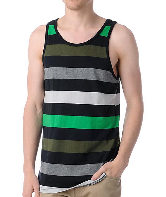 Empyre Party Man Green, Black & Grey Striped Tank Top