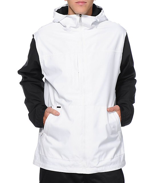 Empyre Paxon White & Black Colorblock 10K Snowboard Jacket