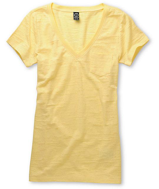 Empyre Peel Yellow V-Neck Burnout T-Shirt