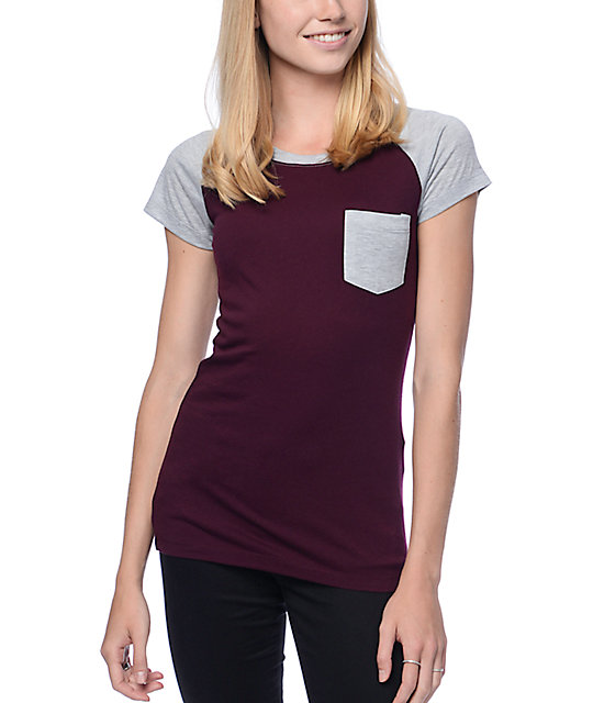 Empyre Petra Blackberry & Grey Raglan T-Shirt