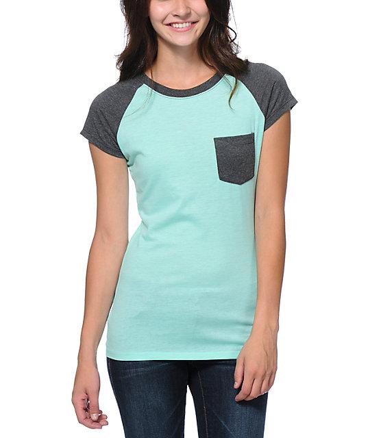 Empyre Petra Ice Green & Charcoal Pocket T-Shirt