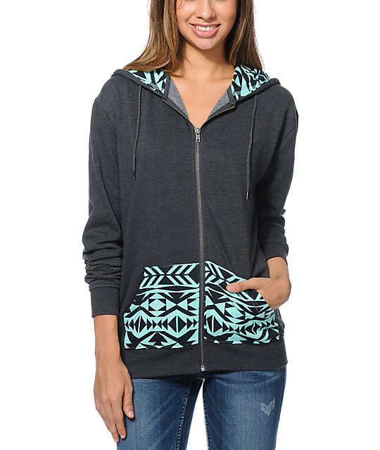 Empyre Pico Tribal Print Oversized Charcoal Zip Up Hoodie