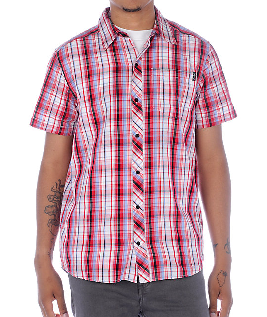 Empyre Piecemeal Red & Blue Plaid Woven Shirt
