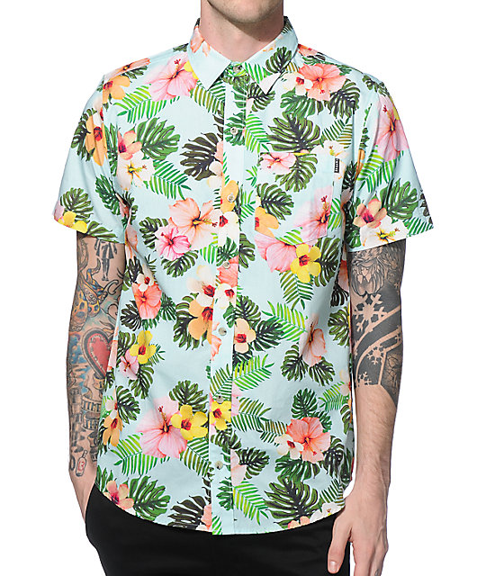 Empyre Pina Hibiscus Button Up Shirt