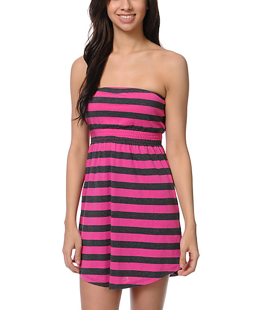 Empyre Pink & Charcoal Stripe Strapless Dress