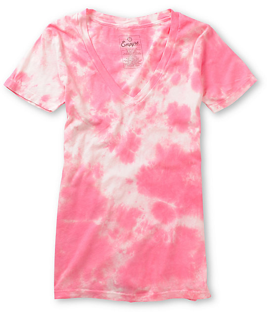 Empyre Pink Tie Dye V-Neck T-Shirt