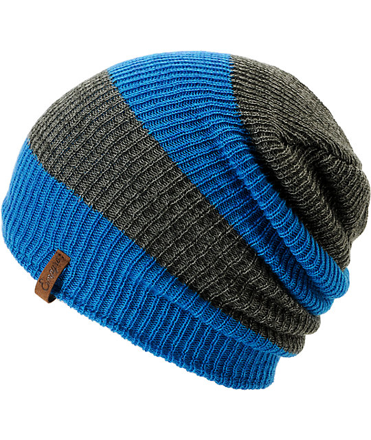 Empyre Piper Blue & Grey Rugby Striped Beanie