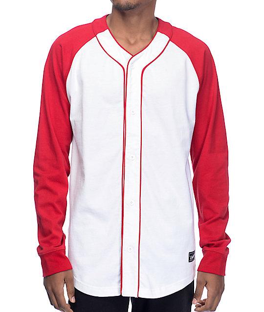 Empyre Pitch Long Sleeve White & Red Baseball Shirt